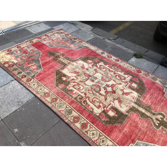 Red Tribal Turkish Carpet For Sale - Image 8 of 11