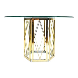 Romeo Rega Ornamental Centre Dining Table Brass Chrome, Italy 1970 For Sale