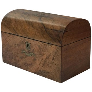19th Century Domed Tea Caddy With Brass Inlay From England For Sale