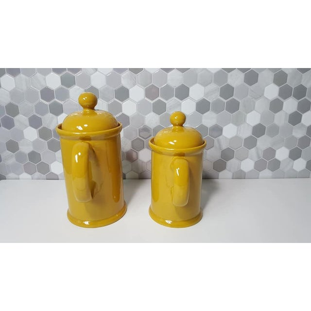 Mid-Century Modern 1970s Vintage Peasant Village Canister With Lid and Handle Ceramic Canister Jars - a Pair For Sale - Image 3 of 12