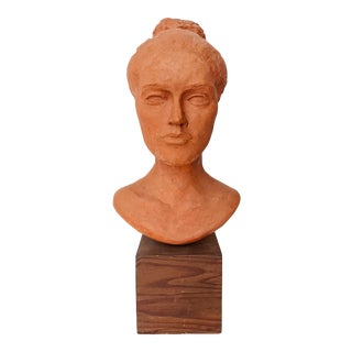 Vintage Terracotta Head Bust Sculpture of a Woman For Sale