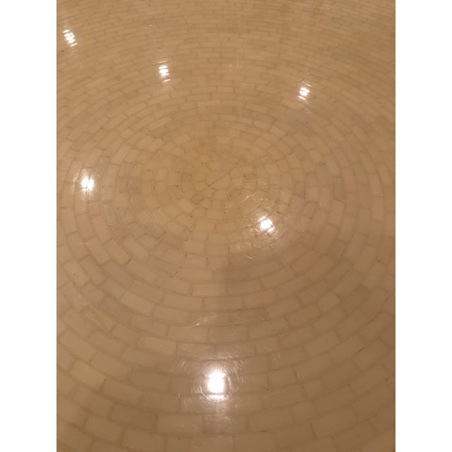 1980s Modern Tessellated Bone Mosaic Round Dining Table For Sale - Image 5 of 11