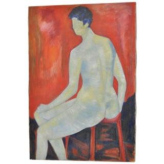 Carmine Sena Minimalist Nude Painting C.1960 For Sale