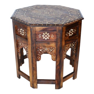 Moroccan Wood and Bone Side Table