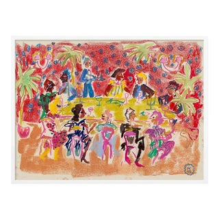 At a Dinner Party by Happy Menocal in White Frame, Small Art Print For Sale