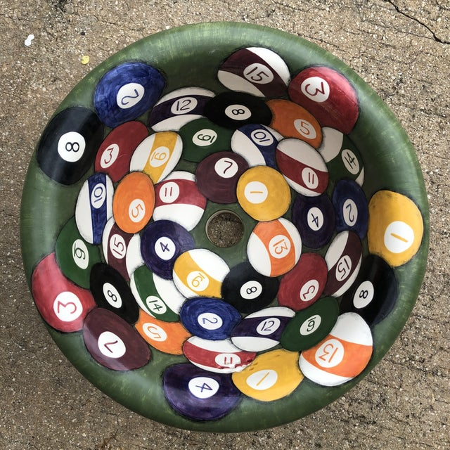Green Marzi Hand Painted Pool Balls Sink For Sale - Image 8 of 8