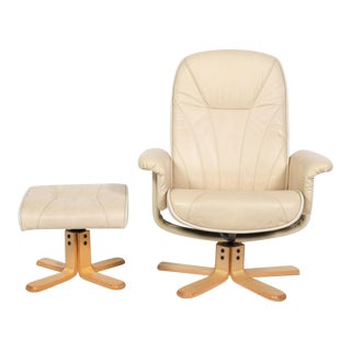 Bently Collection Mid-Century Cream Leather Swivel Chair and Stool - a Pair For Sale