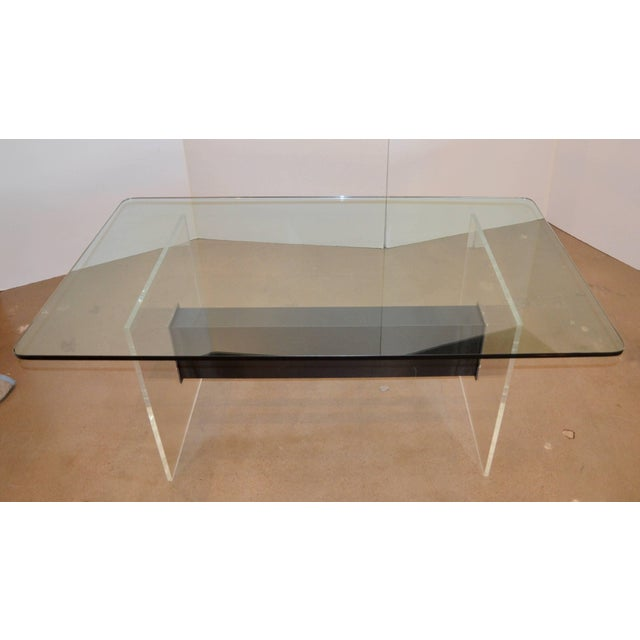 Metal Lucite, Glass and Steel Dining Table or Desk For Sale - Image 7 of 11