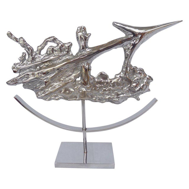 Philippe Cheverny Brutalist Sagittarius Sculpture in Chrome by Philippe Cheverny For Sale - Image 4 of 4