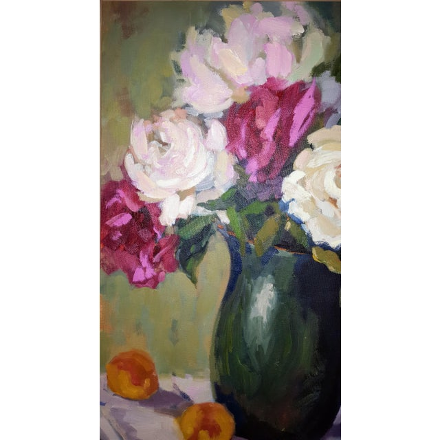 Floral Oil Painting on Canvas For Sale - Image 4 of 5