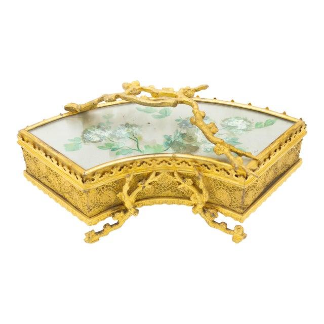 French Victorian Bronze Dore Fan Box For Sale