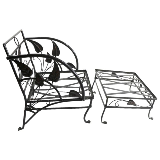 Banana Leaf Lounge Chair and Ottoman by Salterini For Sale