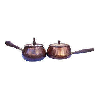 Vintage Copper Pots With Lids -Set of 2