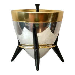 Vintage Mid Century Modern Atomic Aluminum Bullet Ice Bucket With Stand For Sale