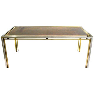 Romeo Rega 1970s Italian Faux Tortoise Brass and Nickel Desk / Center Table For Sale