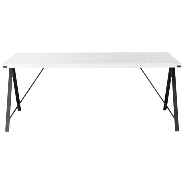 Contemporary Blackened Steel and White Washed Maple A-Table For Sale