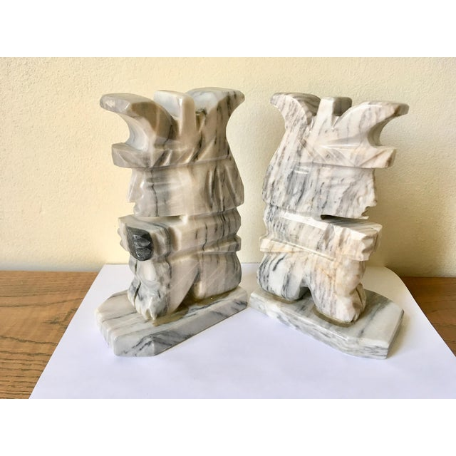 Grey & White Natural Stone Aztec Bookends - A Pair For Sale - Image 5 of 5