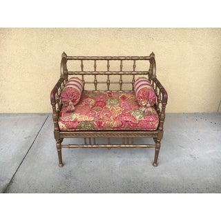 Petite 1960s Chinoiserie Bamboo Style Settee Preview