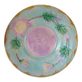 Antique Majolica Dahlia Flower Turquoise Purple Green Plate For Sale