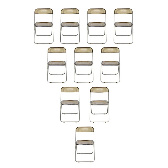 1960s Castelli Mid Century Modern Smoked Lucite Folding Chairs Italy - Set of 10 For Sale - Image 12 of 12