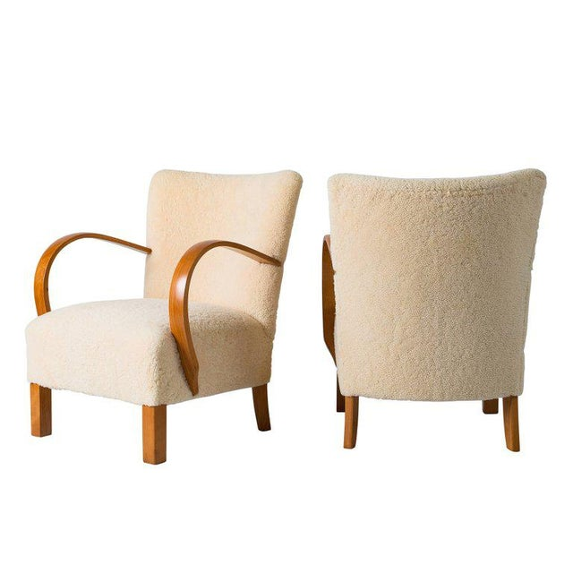 1940s Pair of Scandinavian Sheepskin Lounge Chairs For Sale - Image 5 of 9