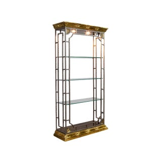 Brutalist Maison Jansen Hammered Steel Etagere For Sale