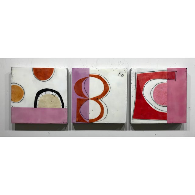 """Wood Gina Cochran """"Perceptions No. 15"""" Encaustic Collage Painting For Sale - Image 7 of 8"""