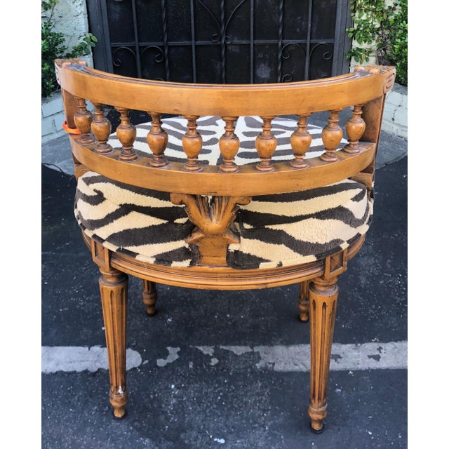 English Traditional Antique Regency Style Low Boudoir Chair W Clarence House Zebra For Sale - Image 3 of 5