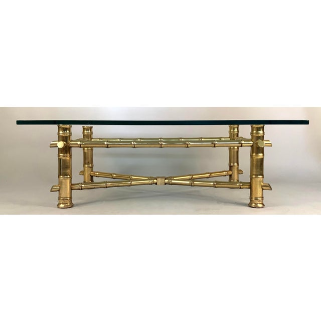 Hollywood Regency Vintage 1960s Gilded Bamboo and Glass Coffee Table For Sale - Image 3 of 5