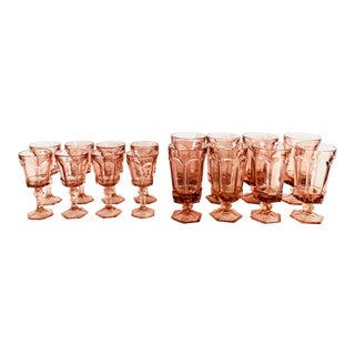 Bohemian Chic Crystal Rose Amber Goblets- Service for 8
