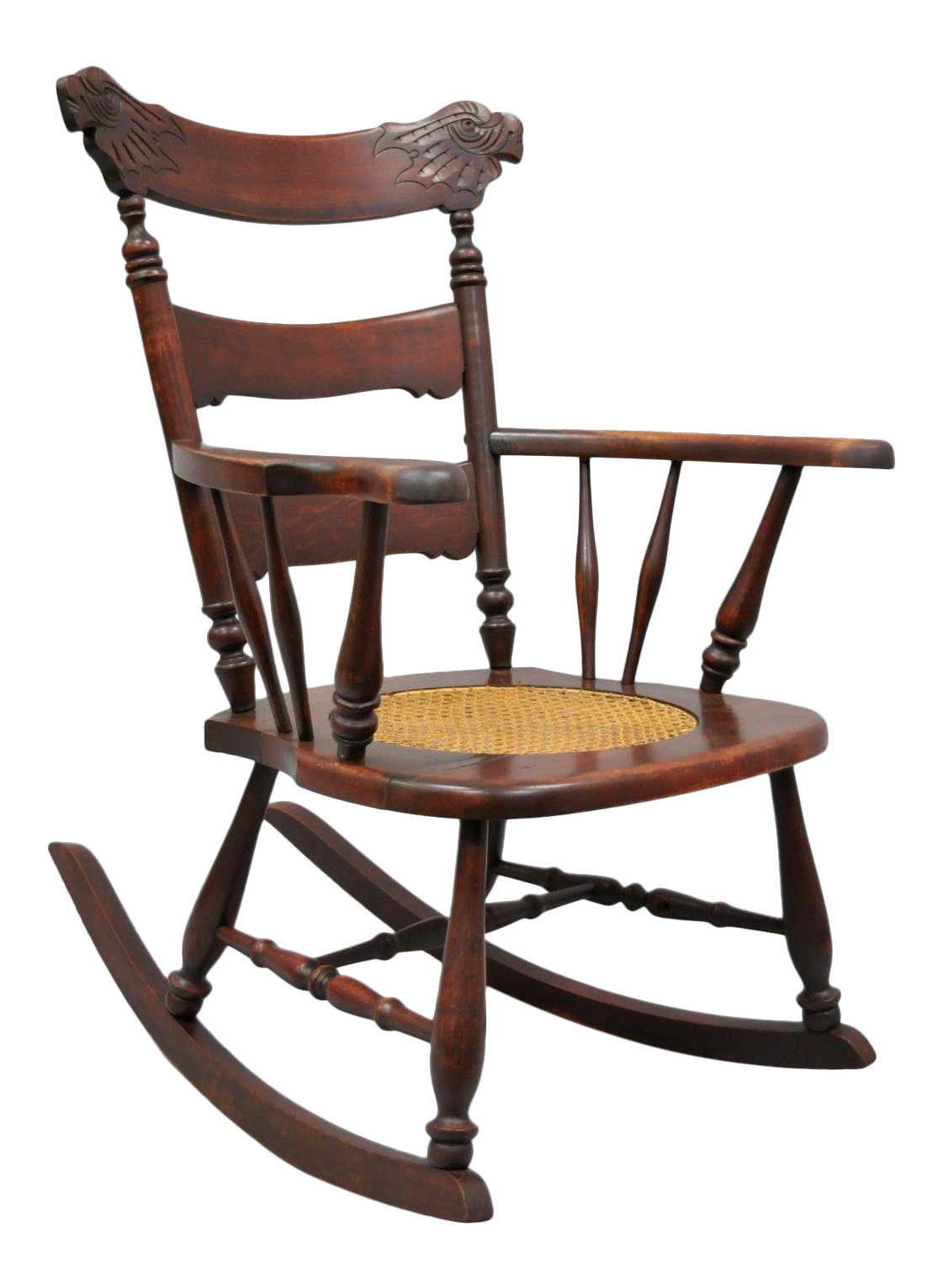 Ordinaire Antique Carved Mahogany Eagle Rocking Chair Rocker Victorian Figural Cane  Seat