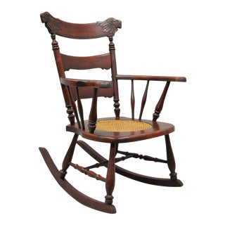 Antique Victorian Figural Carved Mahogany Cane Seat Eagle Rocking Chair Rocker