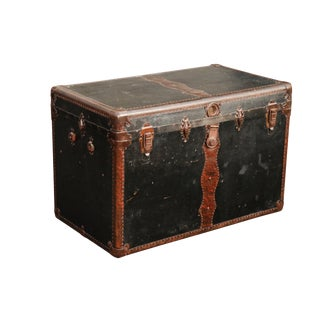 Vintage Black & Brown Trunk For Sale