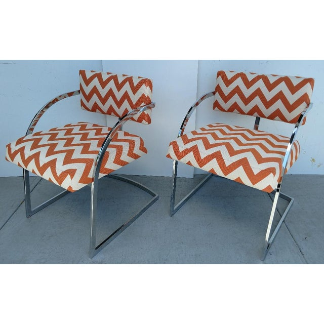Milo Baughman Newly Upholstered Chrome Armchairs, Vintage - Pair For Sale - Image 13 of 13