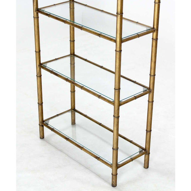 Wood Mid-Century Modern Five-Tier Faux Bamboo Etagere Shelving Unit For Sale - Image 7 of 10