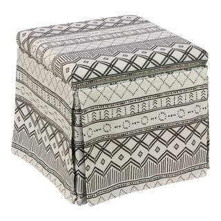 Kuba Ink Skirted Storage Ottoman For Sale