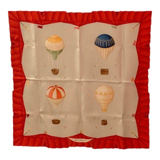Vintage Bulgari Hot Air Balloon Silk Scarf For Sale