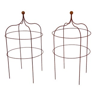 Single One Ball Pavilion Plant Supports - a Pair For Sale
