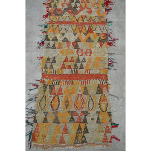 Antique Handmade Turkish Tribal Runner - 2′6″ X 13′2″ For Sale - Image 9 of 10