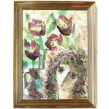Image of Vintage Abstract Floral Portrait Painting For Sale