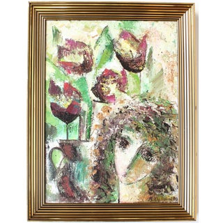 Vintage Abstract Floral Portrait Painting For Sale