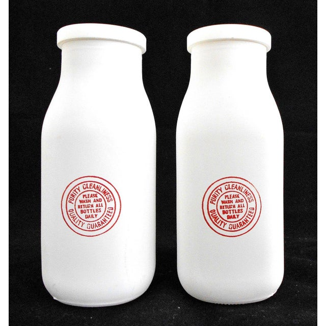 Retro White Glass Cream Bottles and Metal Carrier - Image 7 of 10