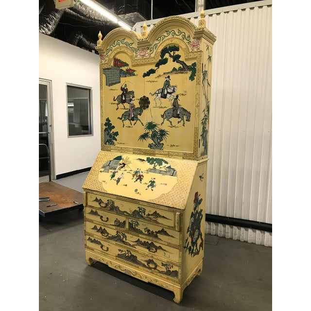 Vintage Chinoiserie Hand-Painted Secretary For Sale - Image 4 of 12
