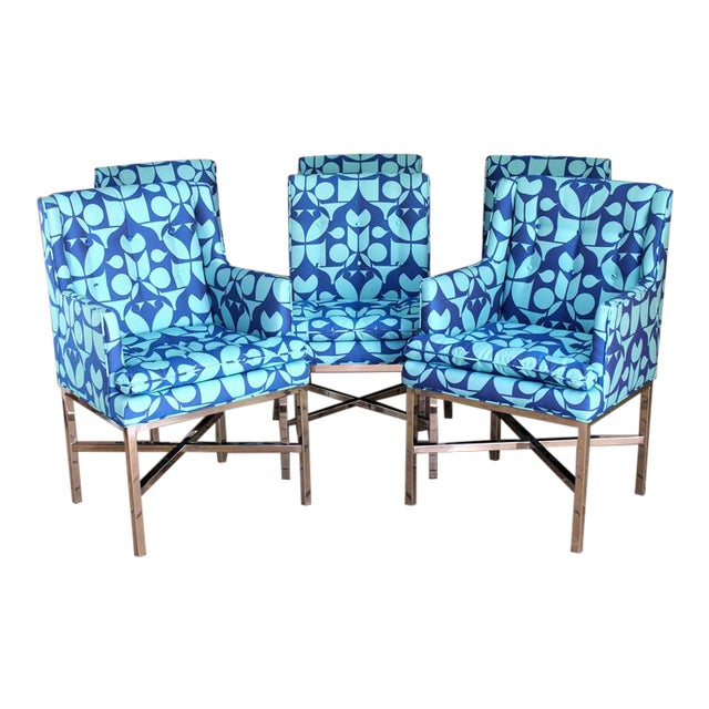 Vintage Blue Upholstered Bernhardt Flair Division Chairs - Set of 6 For Sale