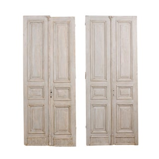Two Pairs of 19th Century French Painted Wood Doors With Nice Carved Panels For Sale