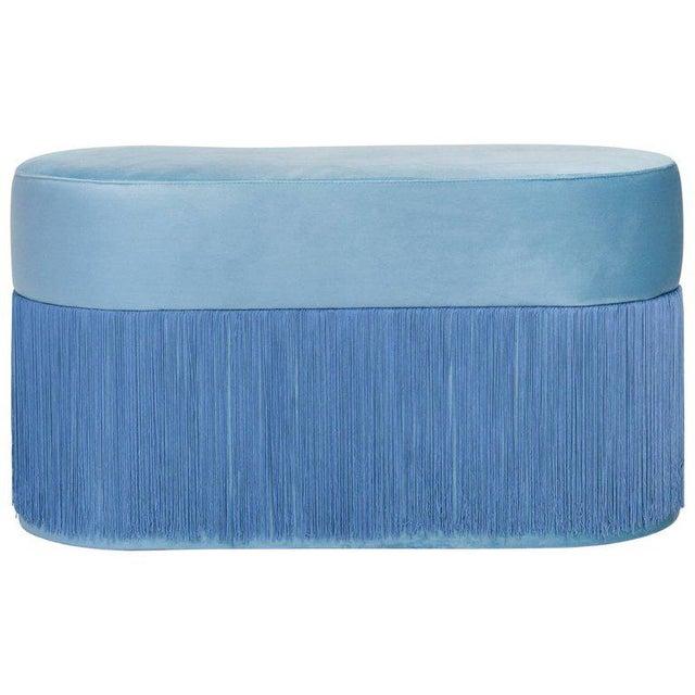 Pouf Pill Large Light Blue in Velvet Upholstery With Fringes For Sale - Image 4 of 6