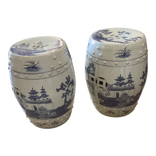 Vintage Blue and White Chinoiserie Garden Seats - A Pair For Sale