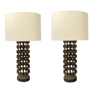 Currey & Co. Industrial Modern Architecturally Inspired Metal and Concrete Table Lamps Pair For Sale