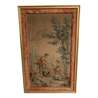 Antique Hand Painted Tapestry For Sale