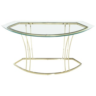 Vintage 1970s Hollywood Regency Gold Colored Brass Console Table For Sale